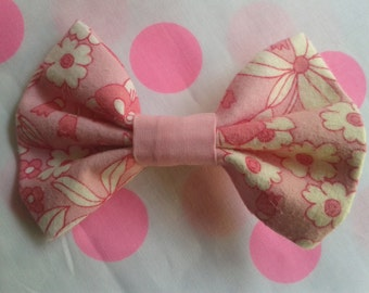 Spring Summer Floral Pink Bow Clip