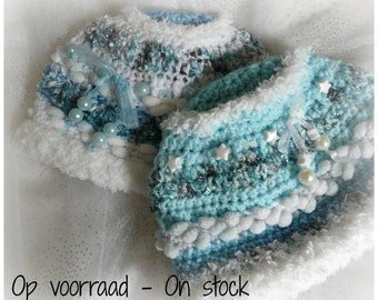 Crochet Baby Beanie Blue Ice