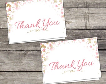 Pink and Gold Glitter Bridal Shower Folded Thank You Cards - 4x6 Thank You Cards - Favors - Instant Download Bridal-146