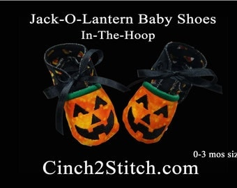 Jack-O-Lantern Halloween Pumpkin Baby Shoes - In The Hoop - Machine Embroidery Design Download - (0-3 month size)