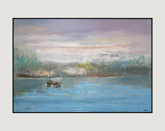 Original oil painting on gallery stretched canvas impressionist style palette knife texture blue painting
