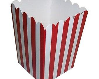 12 striped popcorn boxes favor boxes treat boxes