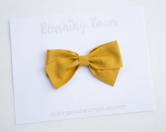 Mustard Bow, Hand Tied Fabric Bows, Baby Girl, Toddler, Girls Fabric Bow Headband or Hair Clip