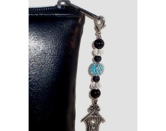 Blue Bead Zipper Pull With Silver Birdhouse Charm, Glass Crystal Bead Swag, Purse Embellishment, Clutch or Bag Adornment, Bible Case Bling