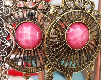 antique bronze earrings with pink stone gipsystile