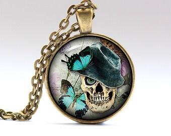 Funky skull charm Anatomy jewelry Creepy necklace RO874