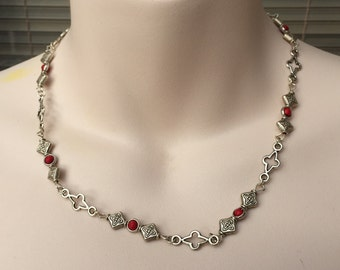 Red gemstone and Tibetan silver neck chain
