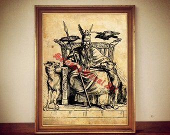 238 Odin Print Odin Poster Nordic God Illustration Viking Print Viking