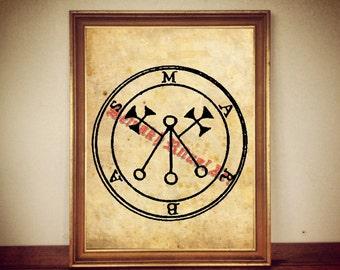 5 Marbas demon seal print, Goetia sigil poster, Lemegeton demon, The Lesser Key, occult pentacle, ritual, summoning demons, canvas #104.5