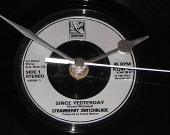 "Strawberry Switchblade since yesterday  7"" vinyl record clock"