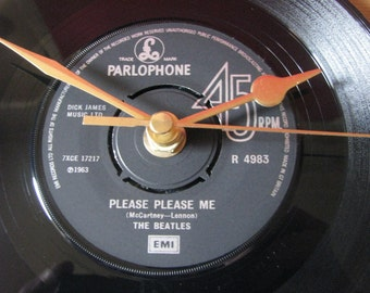"The Beatles  please please me   7"" vinyl record clock"