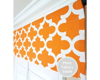 Orange Window Valance-Apache Orange Kitchen Valance Curtains-Morrocan Valance-Quartrefoil Window Treatment.Orange Curtain-52x15
