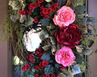 Elegant Wreath, Spring Wreath, Front Door Wreath, Rose Wreath, Grapevine Wreath, Summer Wreath