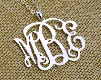 1.5 Inch Sterling Silver Monogram Necklace,Personalized Monogram Necklace,Initial Necklace,Monogram Jewelry,Bridesmaid Gift N002