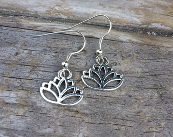 Simple Lotus Earrings, Delicate Lotus Earrings, Yoga Earrings, Ohm Earrings, Gifts for mom, Silver earrings, Gifts for her