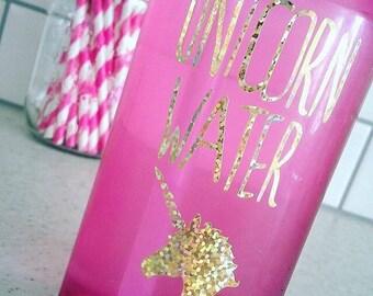 """Gold sparkle """"Unicorn water"""" sticker"""