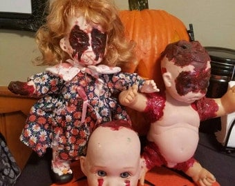 Set of 3 Creepy Handmade Horror Gothic Dolls!!