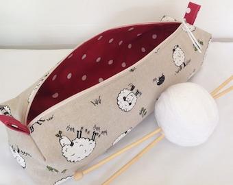 Sheep Knitting Needle Case, Knitting Bag, Crochet Bag