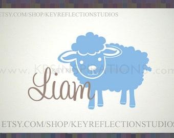 Lamb Custom Baby Name wall decal