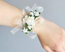 Wrist corsage bracelet, Best gift for wedding guests or prom, flower wedding corsage