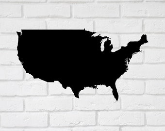 US Map Wall Decals Stickers  - 10 to 33 inches. Customise Wall Large  Decals  Stickers. Easy Peel Decals