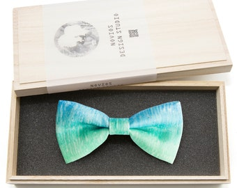 Fading Turquoise Bowtie - Modern Boys Bowtie, Toddler Bowtie Toddler Bow tie, Groomsmen bow tie, Pre Tied and Adjustable Novioshk, H0191