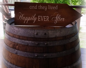 """RUSTIC """"...and they lived Happily EVER After"""" Directional Arrow Wedding Sign"""