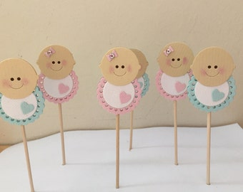 Baby Cupcake Toppers, Baby Shower Cupcake Toppers, Christening Cupcake Toppers