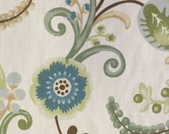 FABRIC SALE!!! Outdoor Floral Cream, Browns, and Light Blues - Outdoor Fabric By The Yard