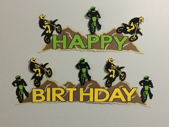 dirt bike motorcross birthday party banner sign. Black Bedroom Furniture Sets. Home Design Ideas