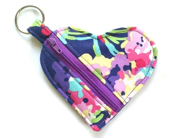 Coin Purse Blue Floral, Ear Buds Pouch, Keyring Change Purse, Small Zip Purse, Girlfriend Gift, Wedding Favours, Lipstick Pouch, Amy Butler