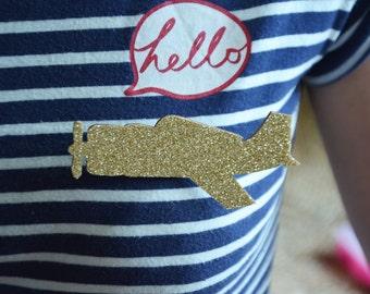 PIN plane Golden glitter