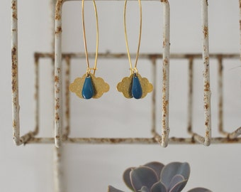 Earrings Golden cloud and raindrop blue enamelled
