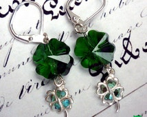 Irish 4-Leaf Clover Earrings, Swarovski Emerald Clover Crystal Earrings, Sterling Silver Clover Charms, St Patty's Day. Free US shipping!