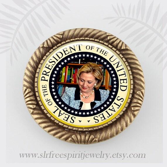 Hillary Clinton Pin, Madam President Pin, Handmade Hillary Jewelry,  Democratic Jewelry, 2016 election, President Hillary Clinton