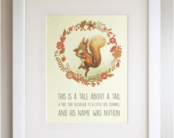 "FRAMED Beatrix Potter Quote Print, New Baby/Birth, Nursery Picture, 3 Frame Options, Lovely Birth/Christening Gift, 12X10"", Squirrel Nutkin"