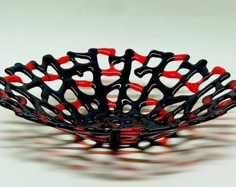 FUSED GLASS BOWL Handmade Dish Black and Red Glass For Fruit