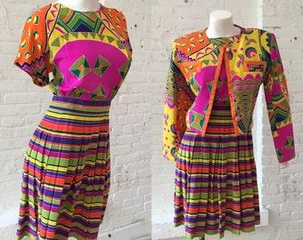 Richie Freeman for Terijon 1980s Bright Colored 2 Piece Dress Set