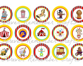 INSTANT DOWNLOAD Circus Bottle Cap Image Sheets 1 inch *Digital Image* 4x6 Sheet With 15 Images