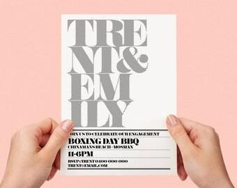Black and White Invite Simple Typographic Modern Printable Engagement Invite Stripes Personalised Custom