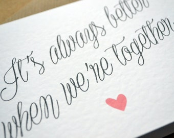 "Wedding Greetings Card - ""It's always better when we're together"" Lyric Wedding Day Card with C6 Kraft Envelope Valentine's Day"