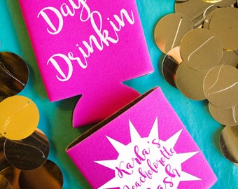Day Drinking Beach Bachlorette Party Favor Custom Personalized Can Coolers