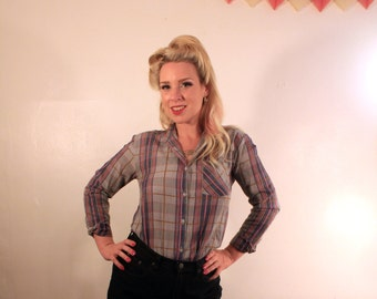 ON SALE 1970's Plaid Button-Up Shirt *was 20.00*