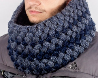 Men's Chunky Cowl Men's Scarf Mens Snood Hand Knit Cowl Neck Scarf Winter Accessories Mix Cowl Scarf by LoveKnitting