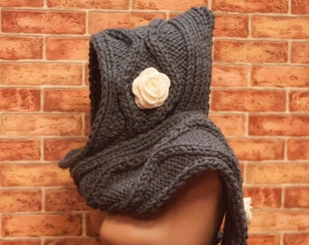 Hooded Scarf. Long Scarf. Acrylic Scarf. Chunky Scarf. Scarf with roses. Scoodie Scarf.  LoveKnittings