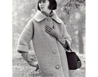 Reprint vintage Coat crochet pattern in PDF instant download version