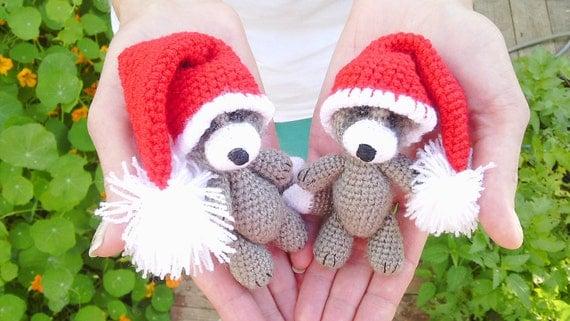 Amigurumi Mini Hat : Amigurumi Cute little raccoon 1 piecetiny crocheted