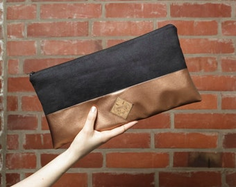 Clutch handbag purse bag faux leather copper black vegan