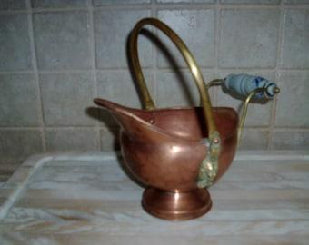 Vintage decorative copper carrying pitcher/bowl