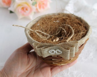 Bird Nest Ring Holder, Basket Ring Bearer, Wedding Ring Holder, Rustic Ring Pillow, Natural Ring Bearer, Bird Nest Basket, Woodland Wedding